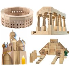 Haba master builder block sets – LOVE these. Baby Building Blocks, Kids Blocks, Famous Structures, Block Area, Toy Craft, Inspiration For Kids, Wooden Blocks, Wood Toys, Wood Turning