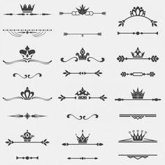 Separatings com coleção coroa Vetor grátis