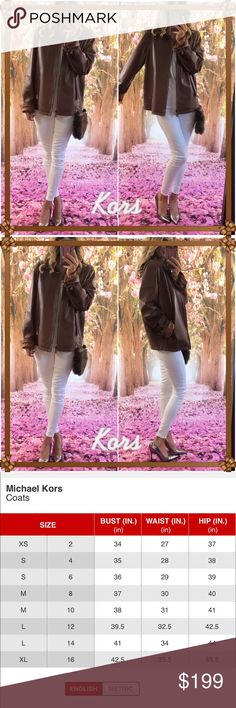 🍾Kors Leather🍾 This is a hard one (gulp) but this genuine classic M. Kors leather jacket is to big for me now and in the hunt for a new one. It's classic style no frills. Elegantly chic absolutely perfect waiting for the fabulous chic new runway model to rock it!. Size chart posted, offers welcome! Michael Kors Jackets & Coats