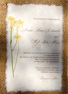 Diy burlap wedding invitations elegant wedding invitations touches do it yourself d i y rustic burlap yellow flower wedding invitation solutioingenieria Image collections