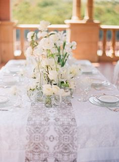 layer upon layer of white for a romantic tablescape  Photography by jillthomasphotography.com, Event Styling and Design by momentaldesigns.com, Event Planning   and Design by joyfulweddingsandevents.com, Floral Design by kathywrightandco.com