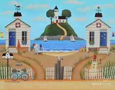 Coastal Cottages Folk Art by Mary Charles, Beach, Ocean, Lighthouse.
