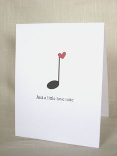 Music Note Card Set Black and Red Valentine by delightfuldaisy
