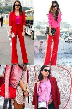 Uma combinação que tem sido muito comentada pelos blog's e muito usada pelas fashionistas é o rosa chiclete e o vermelho. O vermelho é a cor do inverno de 2017 e combinada com o rosa, faz uma dupla super feminina e o melhor não tem erro.  Não tem erro, porque essa combinação é quase um tom sobre tom. Então praticamente um completa o outro. Então vem se inspirar comigo...