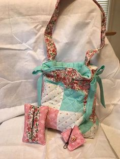 Quilted Spring Drawstring Tote, Tissue Holder and Key Ring Set 1 by Sew Practical, Mom and Pop Craft