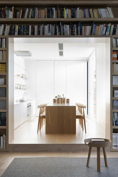 modern interior with character // library and kitchen // interior design inspiration