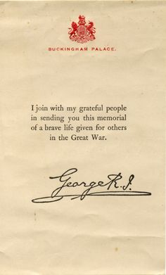 A Letter of Memoriam from the King during the First World War.