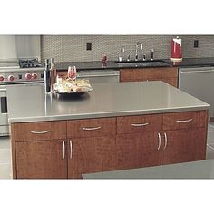 A-Line by Advance Tabco Stainless Steel Counter Top with Backsplash Kitchen Island Materials, Furniture Floor Protectors, Cantilever Shelf, Furniture Risers, Stainless Steel Island, Plastic Folding Chairs, Concrete Countertops, Kitchen Countertops, Satin Finish