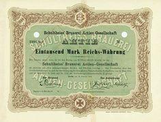 HWPH AG - Historische Wertpapiere - Schultheiss' Brauerei AG Berlin, 12.02.1914, Muster einer Aktie über 1.000 Mark, o. Nr