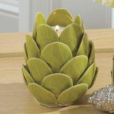 Global Views Artichoke Ceramic Tealight Candle Holder
