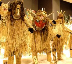 Japanese namahage wearing straw raincoats, traditionally associated with the tribal people of the Akita prefecture and Tōhoku region.
