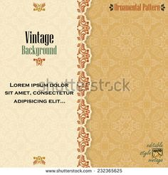 Vintage background with divider and beautiful arabesque, useful for greeting and luxury postcard; ornamental pattern template in design, decorative page cover. Background Vintage, Arabesque, Lorem Ipsum, Vector Art, Vectors, Divider, Royalty Free Stock Photos, Illustrations, Templates