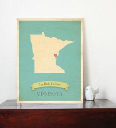 Minnesota  Roots Map 11x14 Customized Print by ChildrenInspire, $40.00