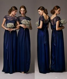 Wholesale 2014 Bridesmaid Dresses - Buy 2014 Elegant Cheap Navy Blue Bridesmaid Dresses Sheer Crew Neck Short Sleeve Long Chiffon Pageant Evening Dress Formal Gowns, $78.84 | DHgate