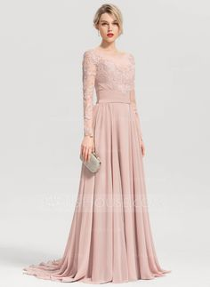 A-Line/Princess Scoop Neck Sweep Train Chiffon Evening Dress - Evening Dresses - JJ's House Sexy Formal Dresses, Simple Dresses, Long Gown Dress, Bridesmaid Dresses With Sleeves, Designs For Dresses, Chiffon Evening Dresses, Dress Sewing Patterns, Wedding Party Dresses, Beautiful Gowns