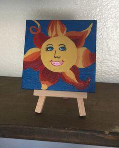 Items similar to Sun Art- Mini canvas painting with easel- acrylic sun painting- happy art- Sun Decor- Sun Gift- Smiley Sun- Beach Decor- small art on Etsy Mermaid, Canvas, Painting, Sun Art, Art, Mermaid Art, Canvas Painting, Vintage
