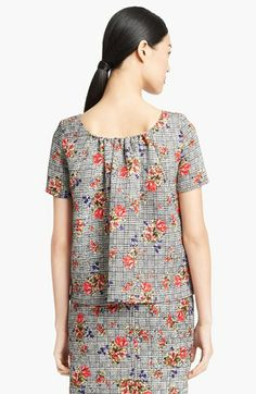Oscar de la Renta Bouquet Glen Plaid Print Top