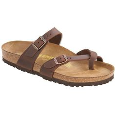 Birkenstock Women's Mayari Sandal ($125) ❤ liked on Polyvore featuring shoes, sandals, habana oiled leather, cocktail shoes, mirror shoes, light weight shoes, birkenstock sandals and lightweight shoes