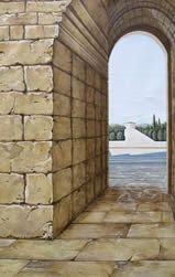 Stone entry wall mural
