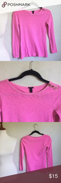 J. Crew Pink Long Sleeved Tee XS Pink, long sleeved tee, three button detail at the shoulder, there is stretch.  15 inches across the bust 23 inches in length   🌷Thank you for visiting my closet! J. Crew Tops Tees - Long Sleeve
