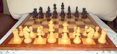 Vintage Wooden carved Chees board and chess set