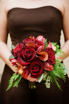 red roses, calla lilies, tulips wedding bouquet