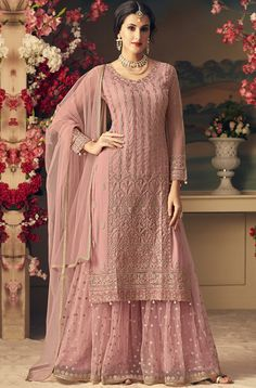 Dull Pink Designer Heavy Embroidered Net Sharara Suit - Fabric Only Designer Salwar Kameez, Pakistani Designer Suits, Indian Salwar Kameez, Indian Designer Wear, Designer Kurtis, Pakistani Suits, Pakistani Dresses Party, Pakistani Fashion Party Wear, Sharara Designs