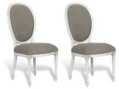 Gray+Louis+XVI+Oval+Side+Chairs,+Pair