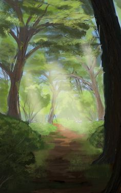ArtStation - Forest path speedpaint, Alexey Rubakin