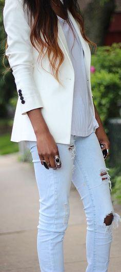 Zara White Women's Masculine Cut Blazer