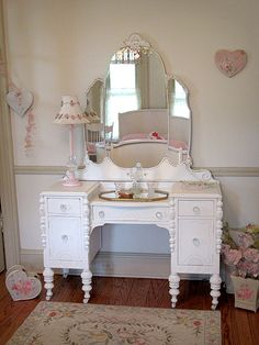 Fancy White Vanity with Tiara Mirror
