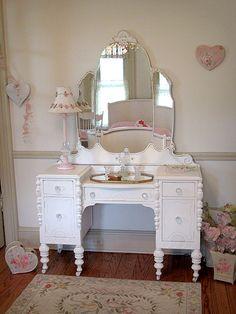Fancy White Vanity with Tiara Mirror