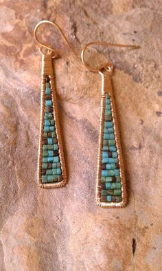 and gold fill Earrings Gift for woman Triangle Earrings Gold Fill Earrings Cleo Earrings Long Triangle Earrings Made To Order Cleo Earrings Wire Wrapped Turquoise Heishi Beads in Gold Fill Also Available in Lapis by MistyEvansDesign on EtsyCleo Ear Bijoux Wire Wrap, Wire Wrapped Earrings, Bijoux Diy, Beaded Earrings, Beaded Jewelry, Stud Earrings, Turquoise Earrings, Emerald Earrings, Feather Earrings