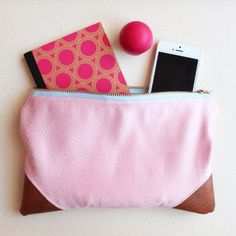 COTTON CRUSH / Vintage Pink Micro Suede Zipper Pouch with Bourbon Vegan Leather Accents and Light Blue Brass Zipper