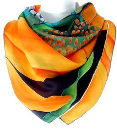 Luxury Silk Scarf Orange Floral Silk Scarf by SimplySilkScarves, £65.00: