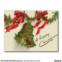 Bell Holly Red Ribbon Berry Garland Postcard