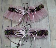Deer Hunting Camouflage Wedding Garter Set on Pink ( Camo garter ) deer, duck, fish