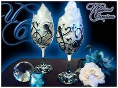 Set of 2 Hand Painted Wine Glasses For the Music by debbiewetton, $25.00