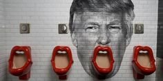 Lip-shaped urinal by designer Meike van Schijndel in the Gent's of Belushi's Bar at the St Christopher's Inns hostel in Paris. Image of Donald Trump photoshopped by two California-based artists, William Duke and Brandon Griffin. 1280 × 720