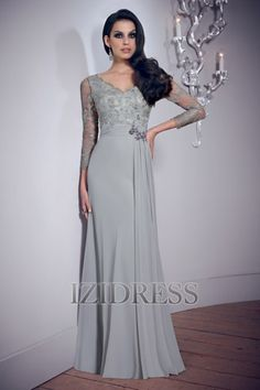 A-Line/Princess V-neck Chiffon Prom Dress - IZIDRESS.COM at IZIDRESS.com