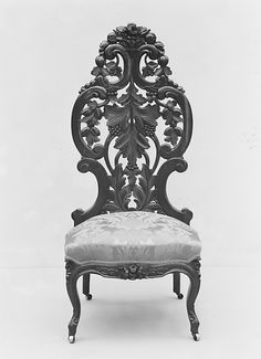 Slipper Chair  John H. Belter  (1804–1863)  Date: ca. 1855 Geography: Mid-Atlantic, New York City, New York, United States Culture: American Medium: Rosewood, ash