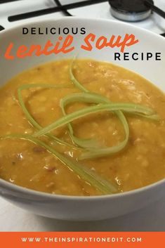 This delicious lentil soup is perfect on a cold winter day!  With only a few ingredients, this is one healthy soup recipe you'll feel great feeding the whole family. Low Carb Recipes, Beef Recipes, Cooking Recipes, Family Recipes, Drink Recipes, Family Meals, Easy Recipes, Salad Recipes, Dinner Recipes