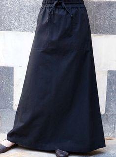 SHUKR Pocketed Drawstring Waist Skirt - Flattering long casual skirt