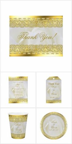 White rose With Gold Lace Wedding Invitation Design A beautiful classic wedding design, with a white rose background and gold lace on the top and bottom.