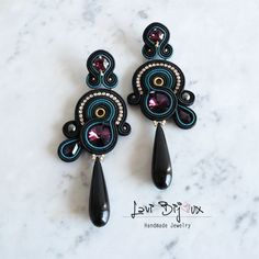 Soutache Earrings Handmade Earrings Hand Embroidered by LaviBijoux Bead Jewellery, Beaded Jewelry, Jewelery, Diy Jewelry, Soutache Earrings, Ring Earrings, Polymer Clay Charms, Artificial Leather, Leather Earrings