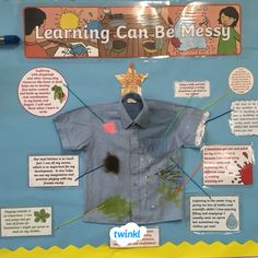 Learning Can Be Messy! We love Lucy s informative display. Twinkl s display pack includes information for parents about why their child s clothes are sometimes messy after school or nursery. Display Ideas Nursery, Nursery Display Boards, Nursery Ideas, Senses Activities, Eyfs Activities, Eyfs Classroom, Classroom Displays, Preschool Displays, Parent Information Board