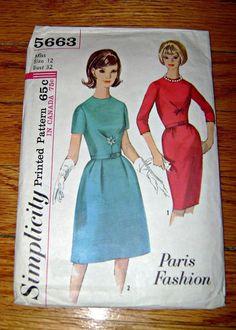 60s Simplicity Dress Pattern Jackie O Style Dress Pattern