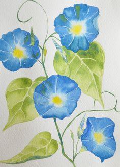 Art, Fine Art-Watercolor Painting of Blue Morning Glories  #handmade  #thecraftstar  $40.00