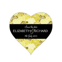 Vintage yellow roses 'Save the Date' Sticker #yellow #wedding #weddinginvitations #savethedate #weddings #zazzle
