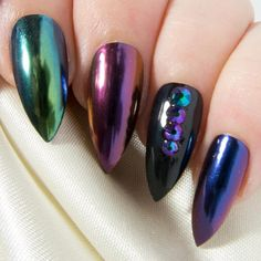 Chrome Press On Nails Mirror Fake Nails Stiletto Faux Nails Crystal Artificial Nails Gothic False Nails Dark Acrylic Nail Set Dark Acrylic Nails, Acrylic Nail Set, Dark Nails, Purple Nails, Stelito Nails, Hair And Nails, Crystal Nails, Makeup Items, Gothic